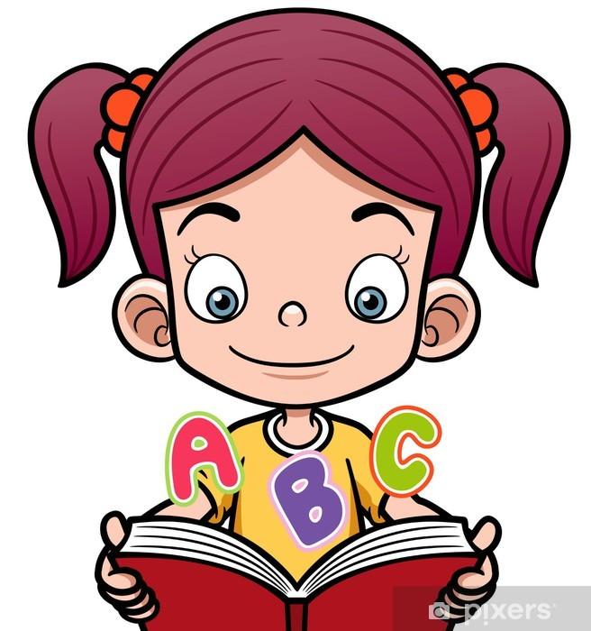 Vinilo Pixerstick Ilustracion Vectorial De Nina De Dibujos Animados De Leer Un Libro Pixers Vivimos Para Cambiar Ninos Leyendo Ilustracion Vectorial Ninos Dibujos Animados