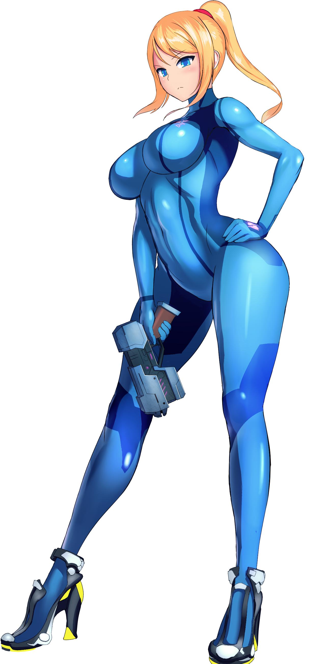 Samus Aran Zero Suit Metroid Series Artwork By Booster