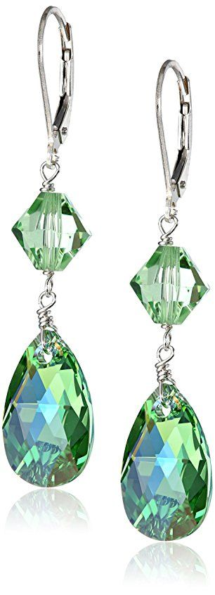 Sterling Silver Peridot Color Pear And Bicone By Swarovski
