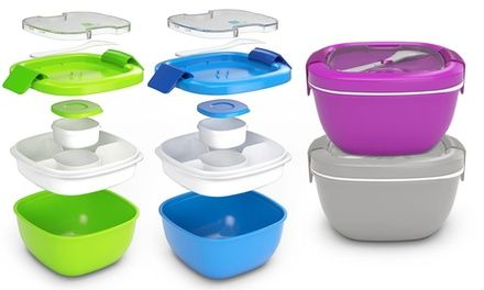 Meal carrier's compartments and lidded condiment cup keep individual…