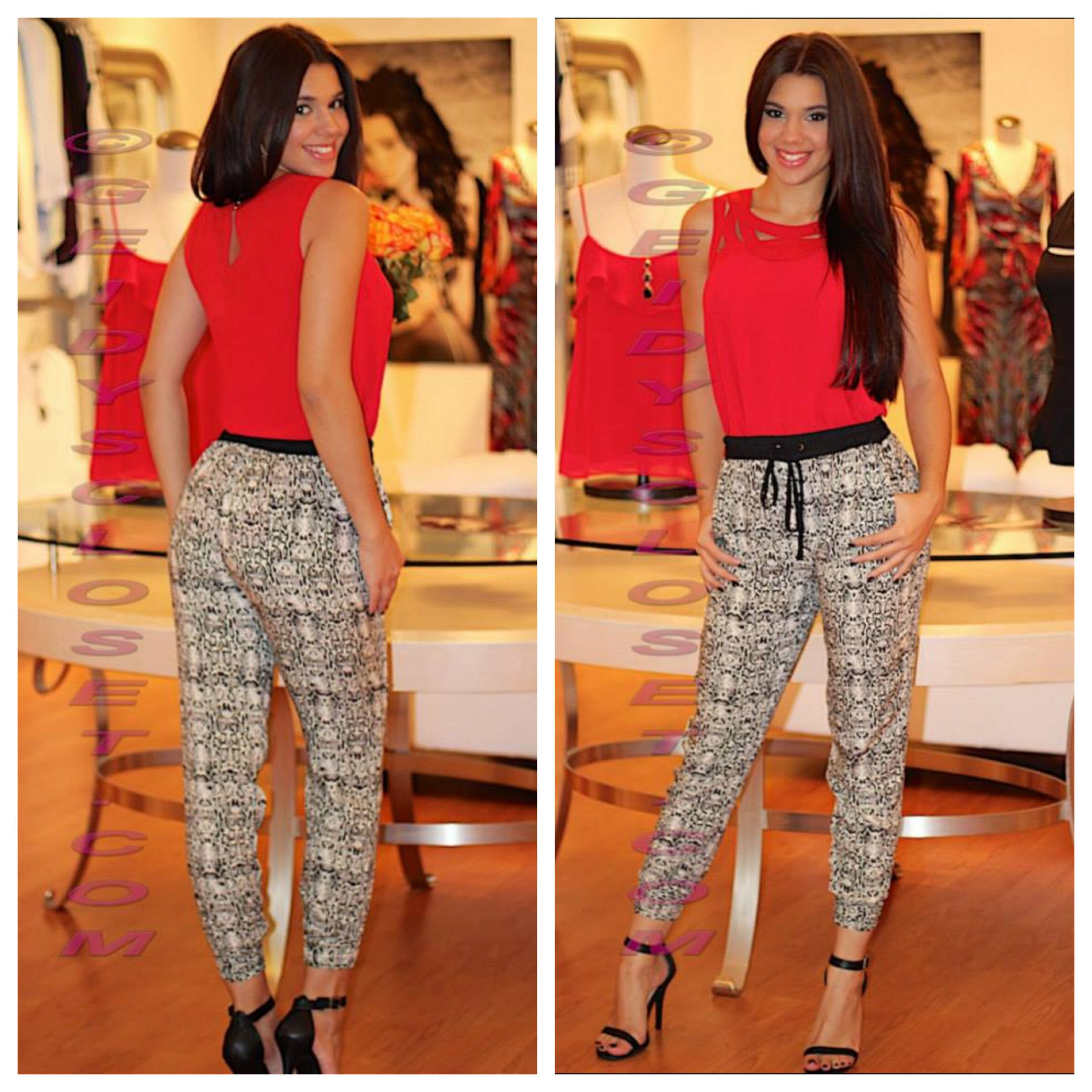 Red Top And Black And White Printed Pants Shop Online At Www Geidyscloset Com Printed Pants Style Fashion