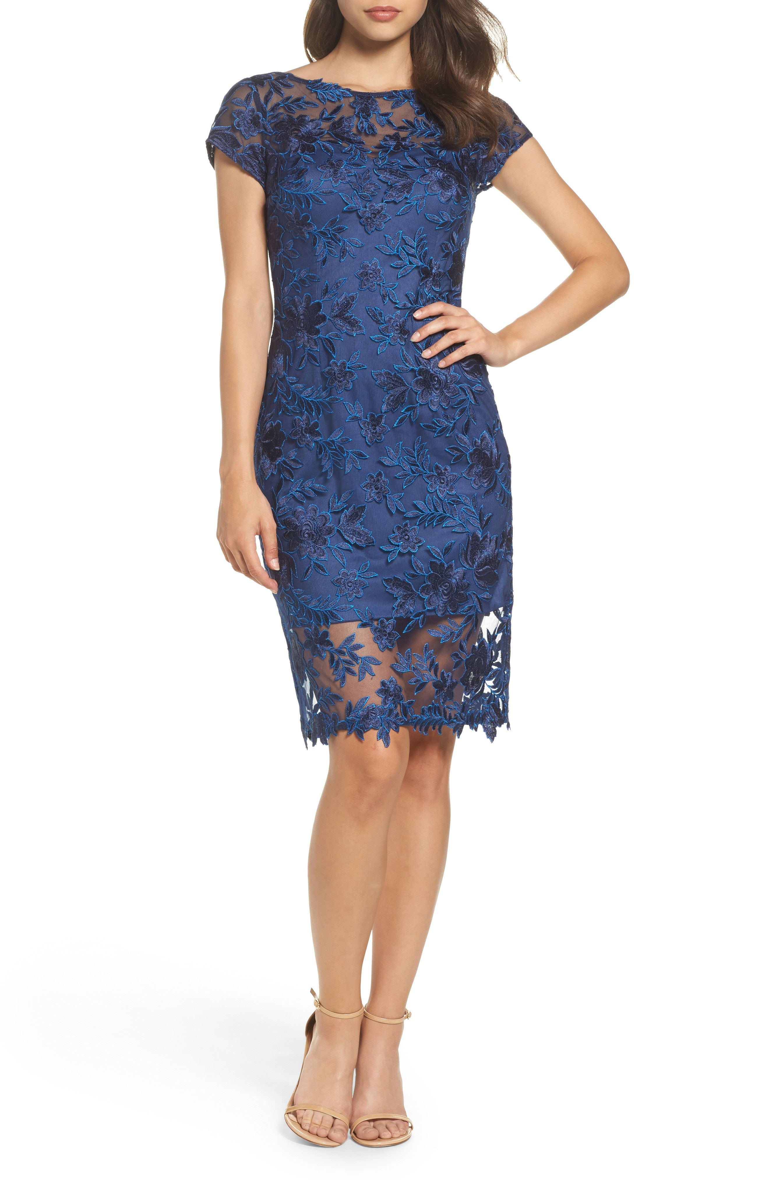 Sheath dresses for wedding guest  Illusion Detail Lace Sheath Dress Navy  My Style  Pinterest