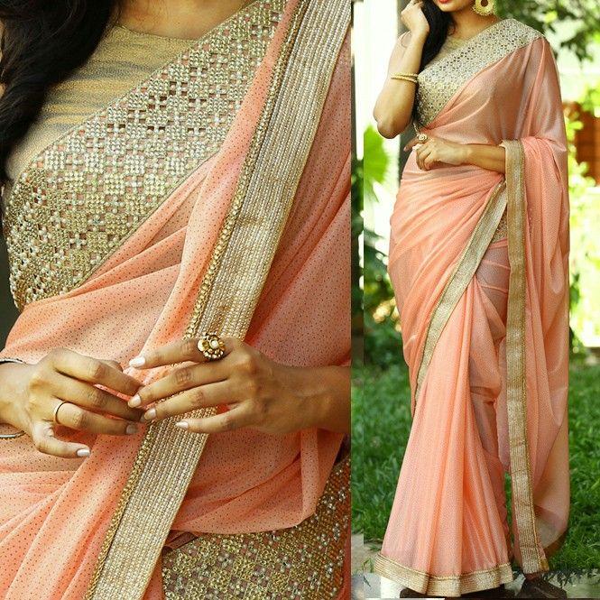 5978f0e9c16af8 Georgette & Lycra Silk Lace Work Peach Plain Saree - PRS55 | Saree ...