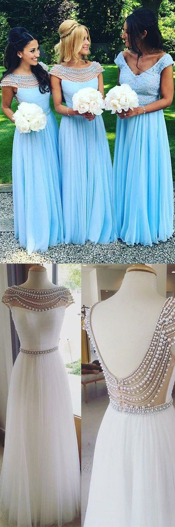 A-Line V-Neck Cap Sleeves Long Blue Chiffon Bridesmaid Dress with ...