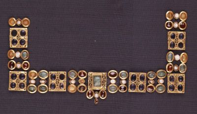 Gold necklace with precious stones  gold, precious stones  Cypriot  Roman period  mid-4th c. AD