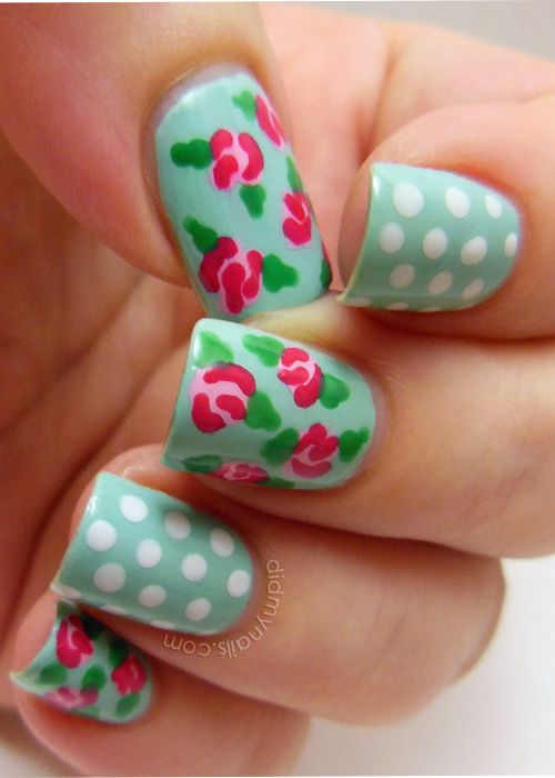 New Vintage Rose Nail Application for Spring-The beautiful pastel rose pattern looks like some complex nail design, but actually it is so simple to apply.