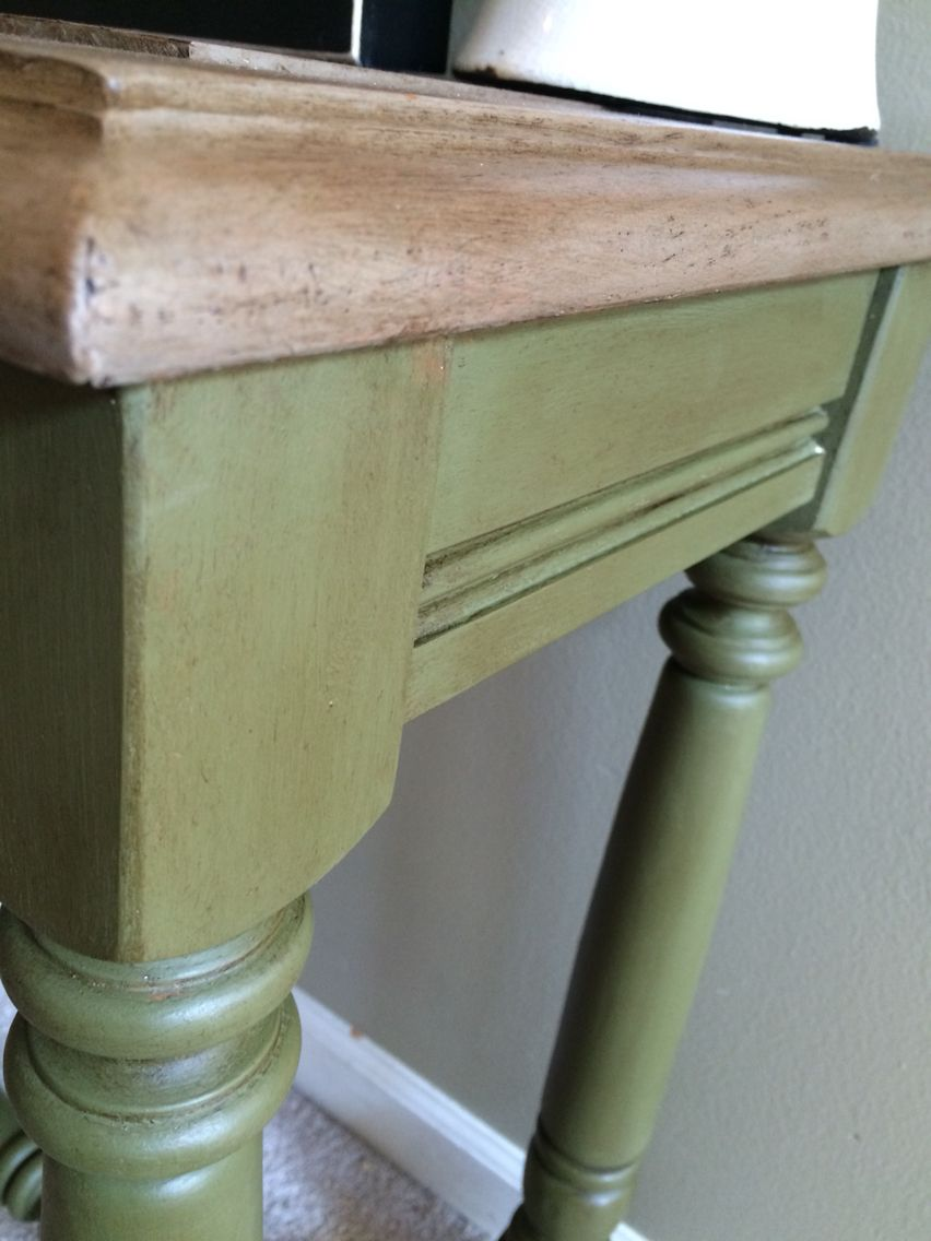 Annie Sloan Olive Green Coco With Dark Wax Console Table Therustysoprano On Facebook