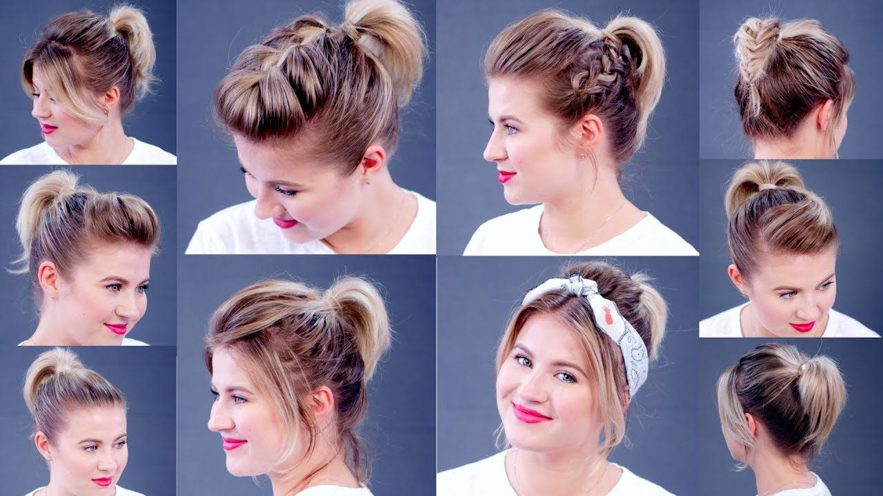 High Ponytail 10 Different Ways Milabu Short Hair Tutorial Hair Styles Short Hair Styles