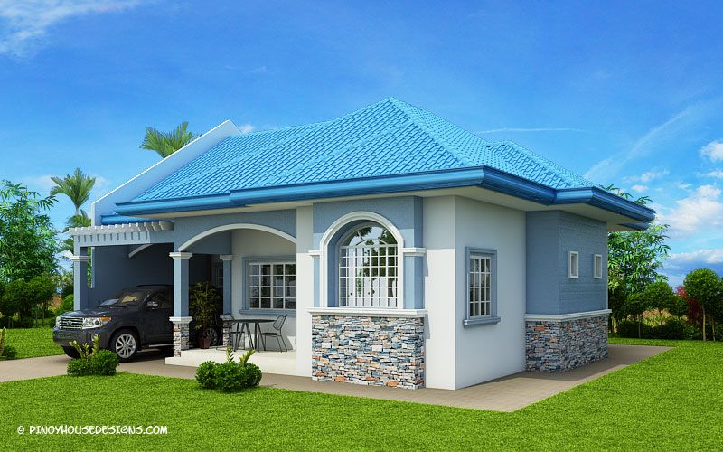 Myhouseplanshop Delightful Three Bedroom Blue Roof House Plan Modern Bungalow House Modern Bungalow Small House Design Plans