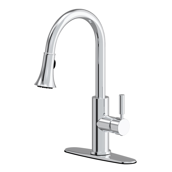 Commercial Style Brushed Chrome One Handle Pull Down Kitchen Faucets