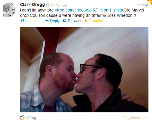 This just made my night =] <3 Clark Gregg & the big JW!