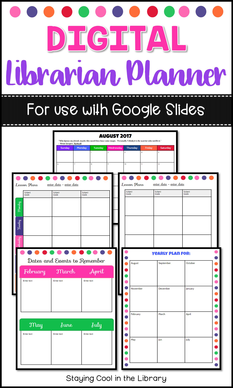 digital school library planner google slides schedule. Black Bedroom Furniture Sets. Home Design Ideas