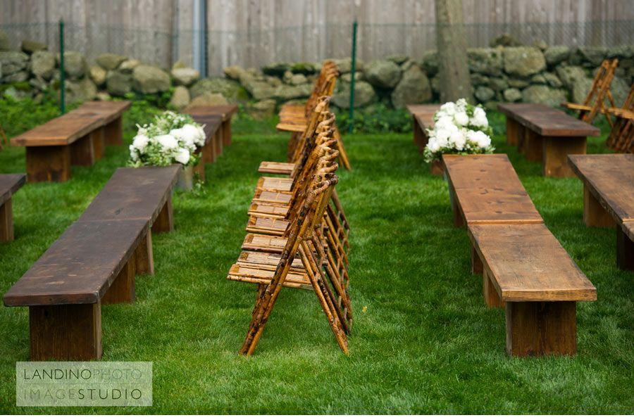 Chairs And Benches For An Outdoor Ceremony. Click For More