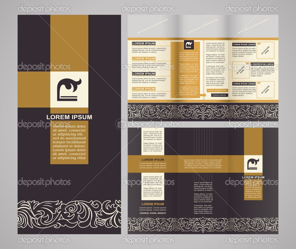 vintage style brochure template design with modern. Black Bedroom Furniture Sets. Home Design Ideas