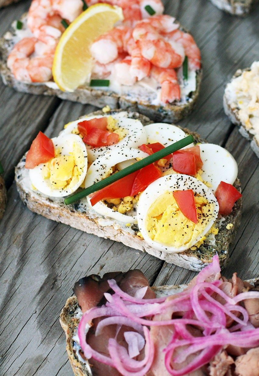 Scandinavian Style Open Faced Sandwiches In 2020 Open Faced Sandwich Red Onion Recipes Hearty Snacks