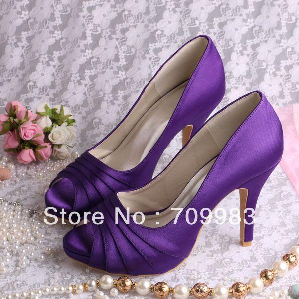 Custom Handmade Plus Size Peep Toes Purple Satin Wedding Shoes