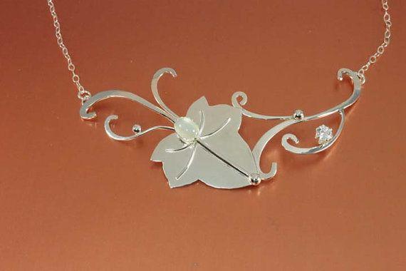 Ivy Leaf Sterling Pendant, Metalwork Pendant, Celtic Elven Wedding Necklace Jewelry Magical Fantasy LOTR, Sterling silver