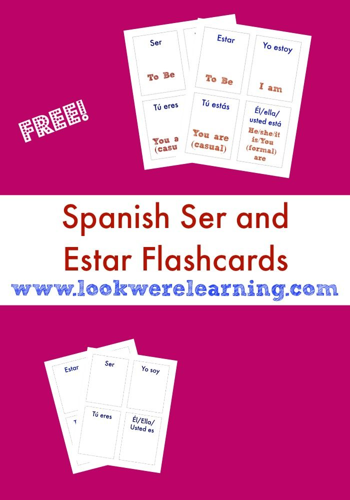 Free Printable Flashcards Ser And Estar Flashcards