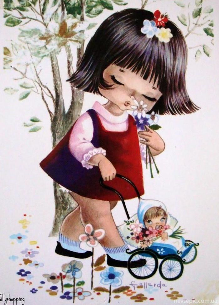 Карандашами днем, открытка с милой девочкой