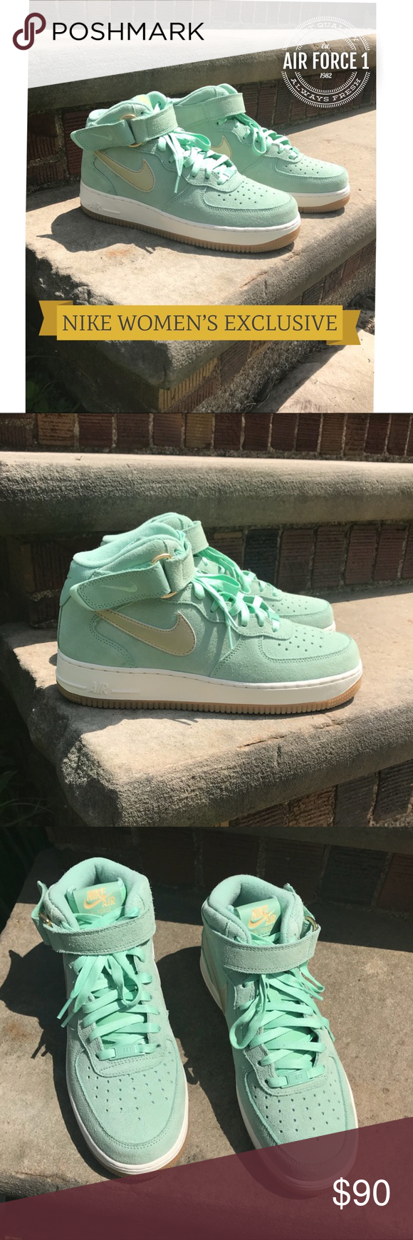 factory price 114fd 0ebf9 Spotted while shopping on Poshmark  New✨Nike Air Force 1 Mid Women s Enamel  Green Gold!  poshmark  fashion  shopping  style  Nike  Shoes