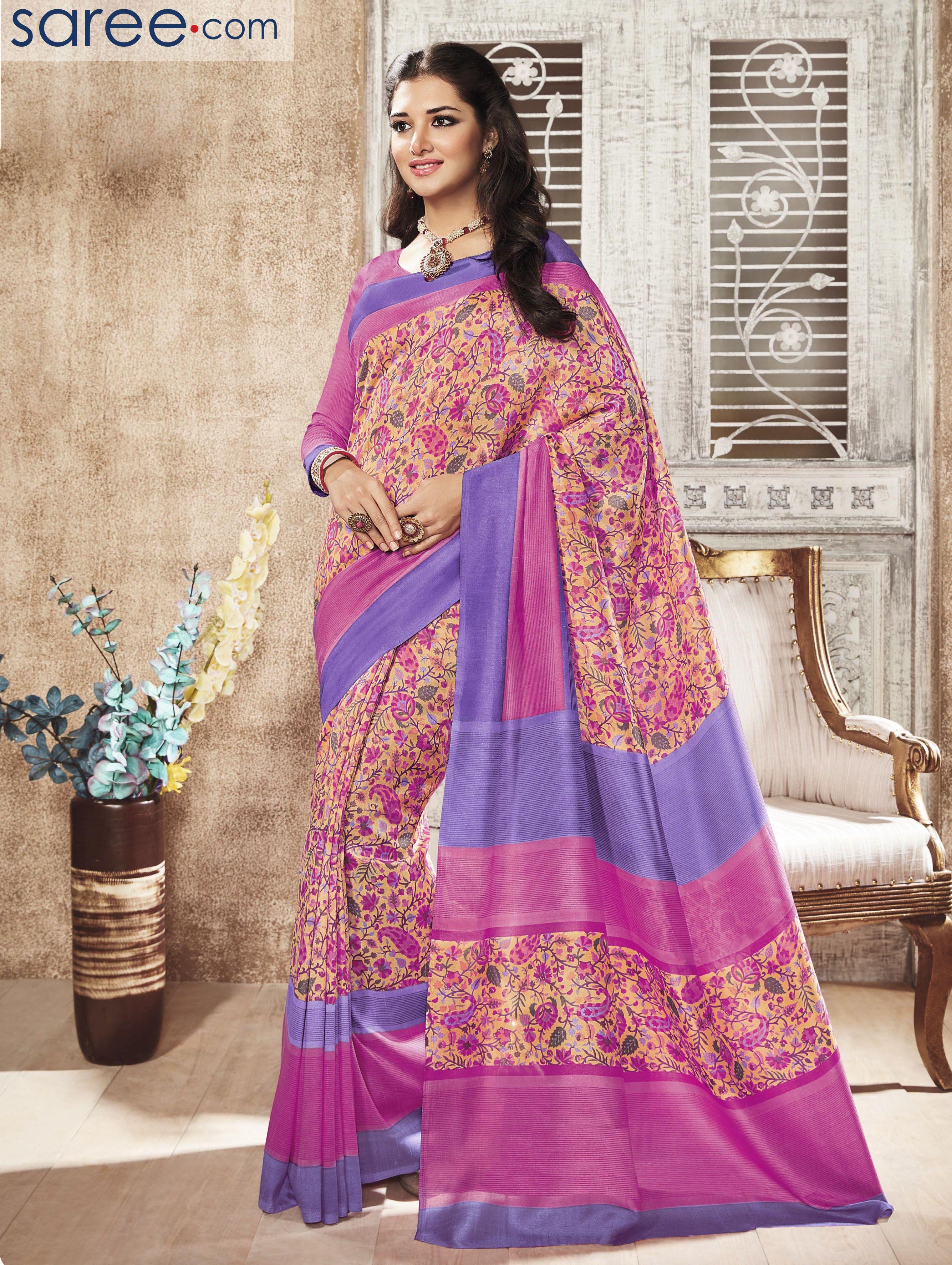 Yellow silk saree peach art silk printed saree  salwar suits  pinterest  printed