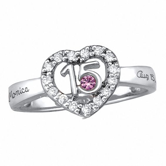 Sterling Silver Quinceanera Birthstone Ring With Cubic
