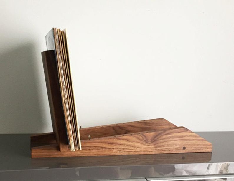 Modern Vinyl Lp Record Storage Display Holder In Walnut Holds Etsy In 2020 Record Storage Vinyl Record Storage Lp Record Storage
