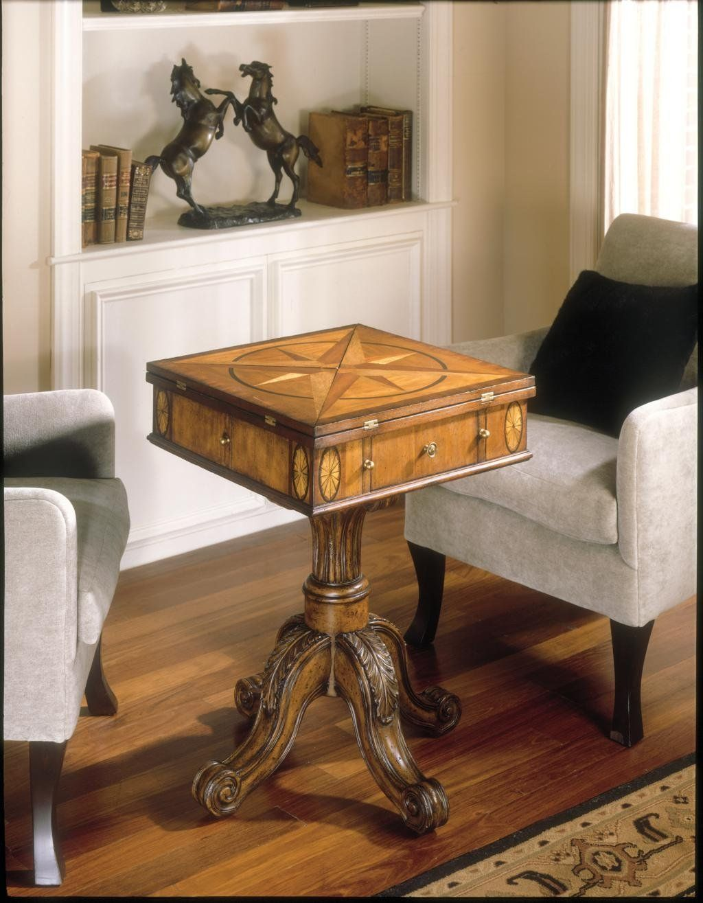 Amazon.com - Antique Chess Table w Fold-in Corners | Game table