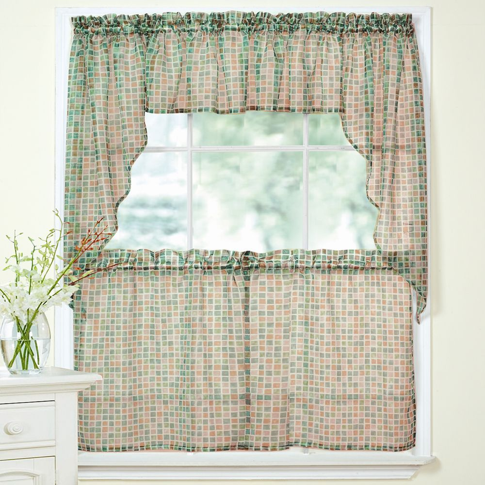 24 Inch Kitchen Curtains Beige Tile Printed Sheer Voile Window Curtain Set 24 Inch Set
