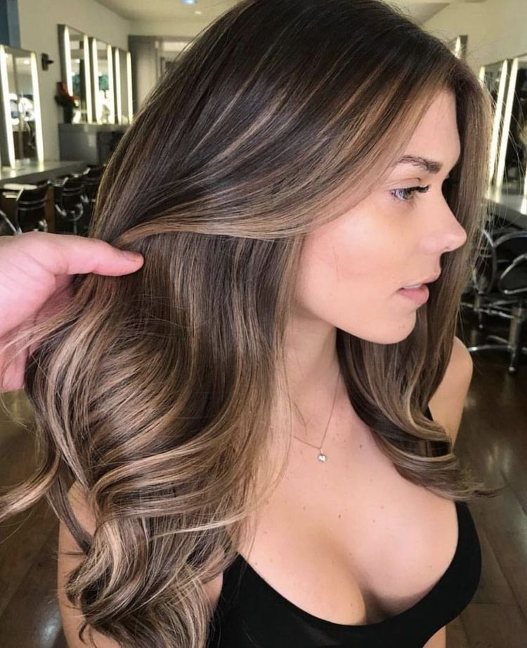 Balayage Brown Highlights Lace Front Human Hair Wigs with Baby Hair 2/2/6 Gallery