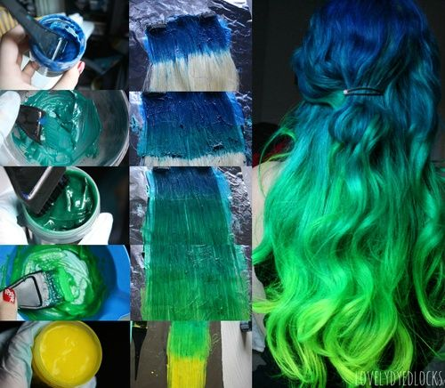 Long Hair Colored Light Green Green And Dark Green Ombre Hair