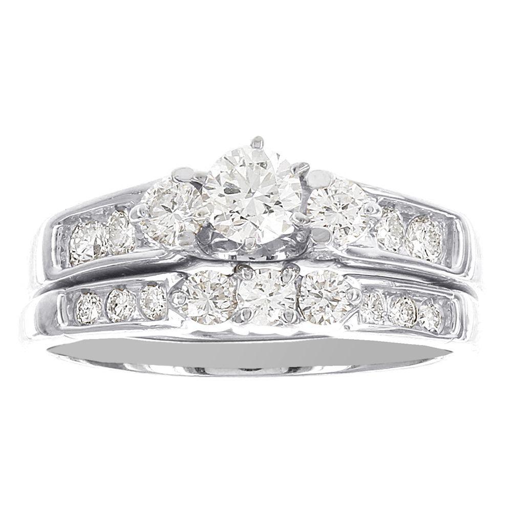 Miadora signature collection 14k white gold 1ct tdw diamond double row - H Star 14k White Gold 1ct Diamond Wedding Ring Set H I I2 I3