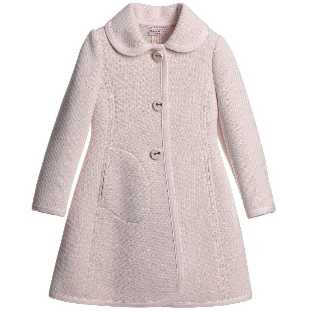 Monnalisa Girls Pink Classic Coat at Childrensalon.com