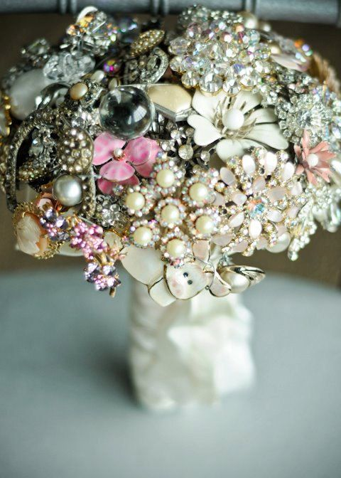 Crystal vintage jewelry bouquet by The Ritzy Rose