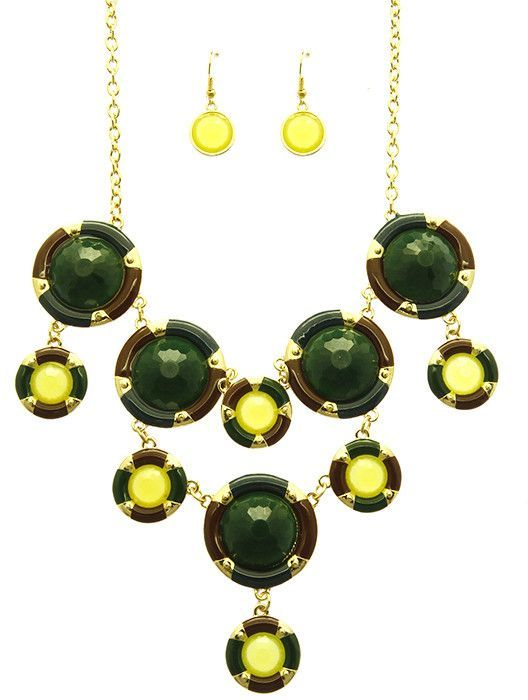 Necklace And Earring Set Faceted Lucite Bib Circular Multi Layer Homaica Metallic Link Chain Fish Hook 16 Inch Long 4 Inch Drop