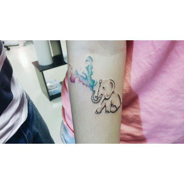 elephant watercolor tattoo small cool