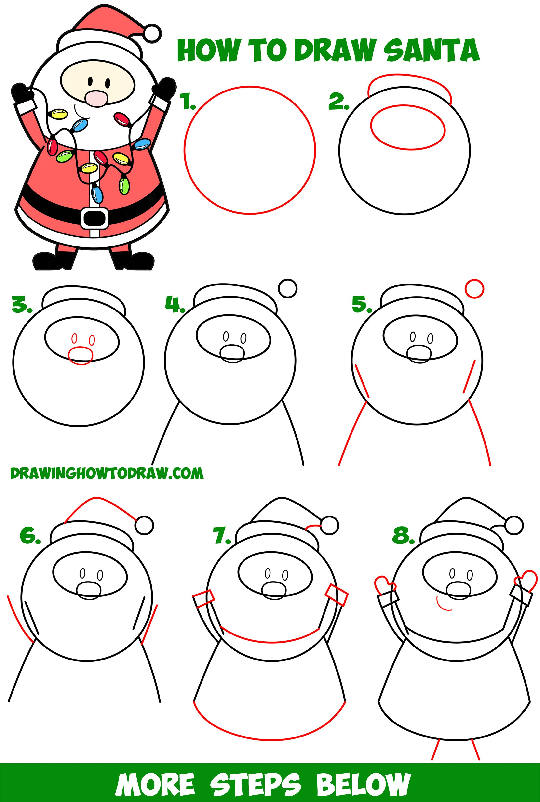 How to Draw Santa Claus Holding Christmas Lights Easy Step ...
