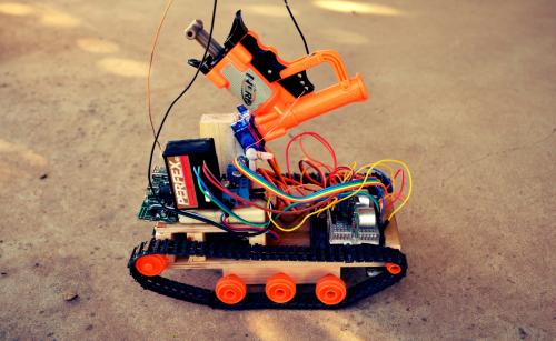 Bot with Tamiya treads and Nerf gun