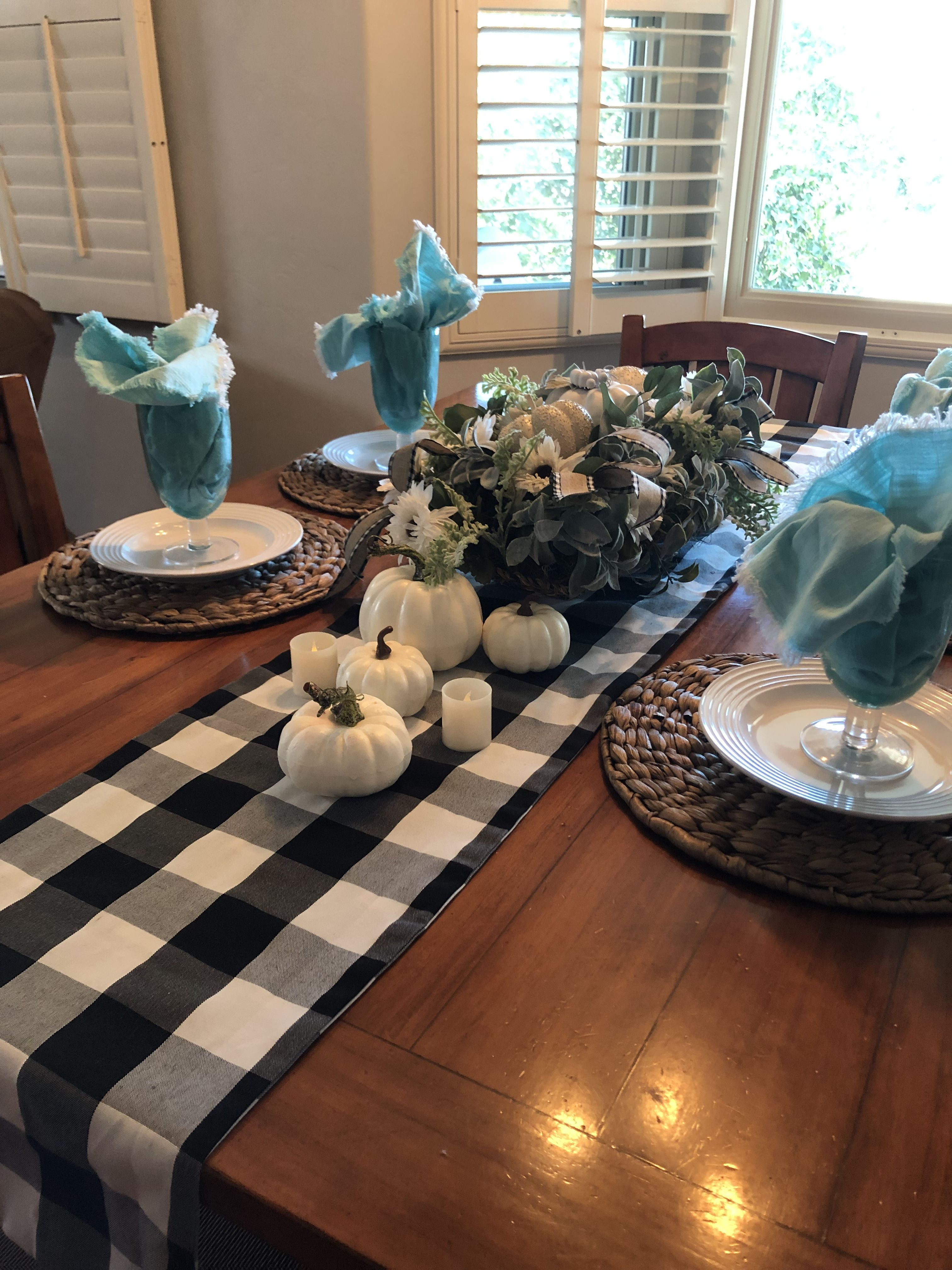 Thanksgiving Table Runner Black And White Buffalo Plaid