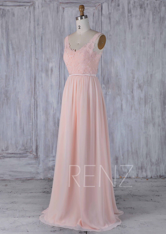 Lace wedding dress pink october 2018 Bridesmaid Dress Peach Chiffon DressWedding DressLace Illusion V