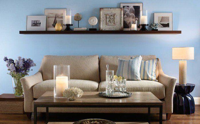Déco Salon – couleur peinture salon bleu ciel, déco marine chic pour ...