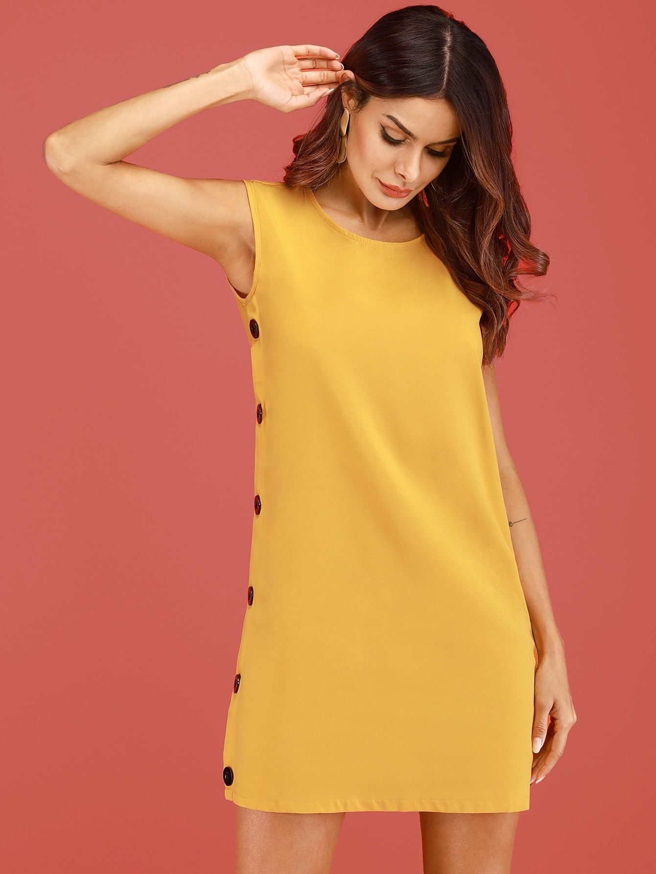 285fde4dd0 Button Side Solid Dress in 2019 | Fashion | Dresses, Dress outfits ...