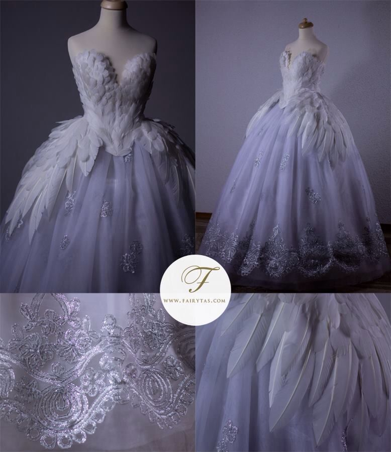 Feather bridal dress, swan lady look.
