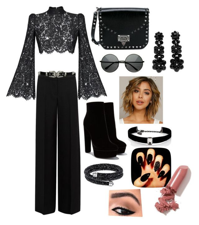 """""""Black like my soul"""" by mikaelabeck on Polyvore featuring Rasario, Alexander McQueen, Valentino, B-Low the Belt, Simone Rocha, Kenneth Jay Lane and LAQA & Co."""
