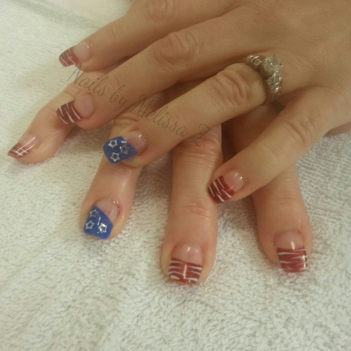gel Polish with fourth of July american design fancy French Nails by ...