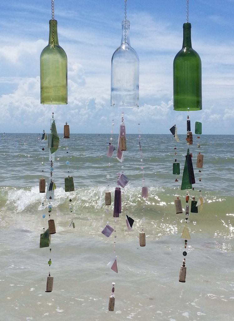 Modified wine bottles when strung with beautiful