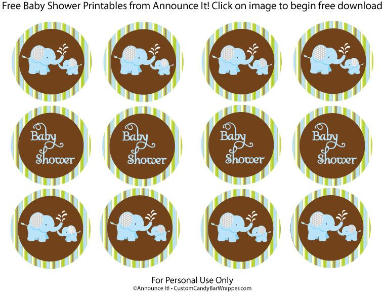 Free Elephant Baby Shower Printables Cake Toppers Or Favor Tags