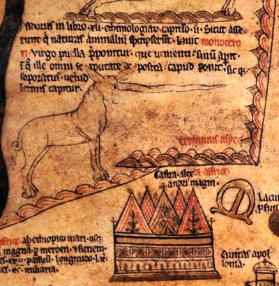 Hereford mappa mundi detail: Unicorn