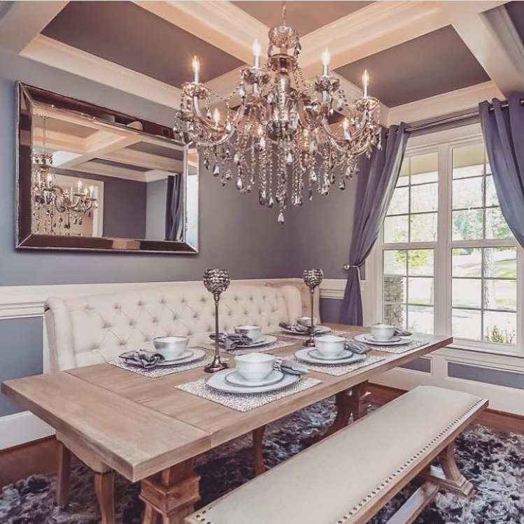 rustic chic dining room: archer dining table, omni chandelier