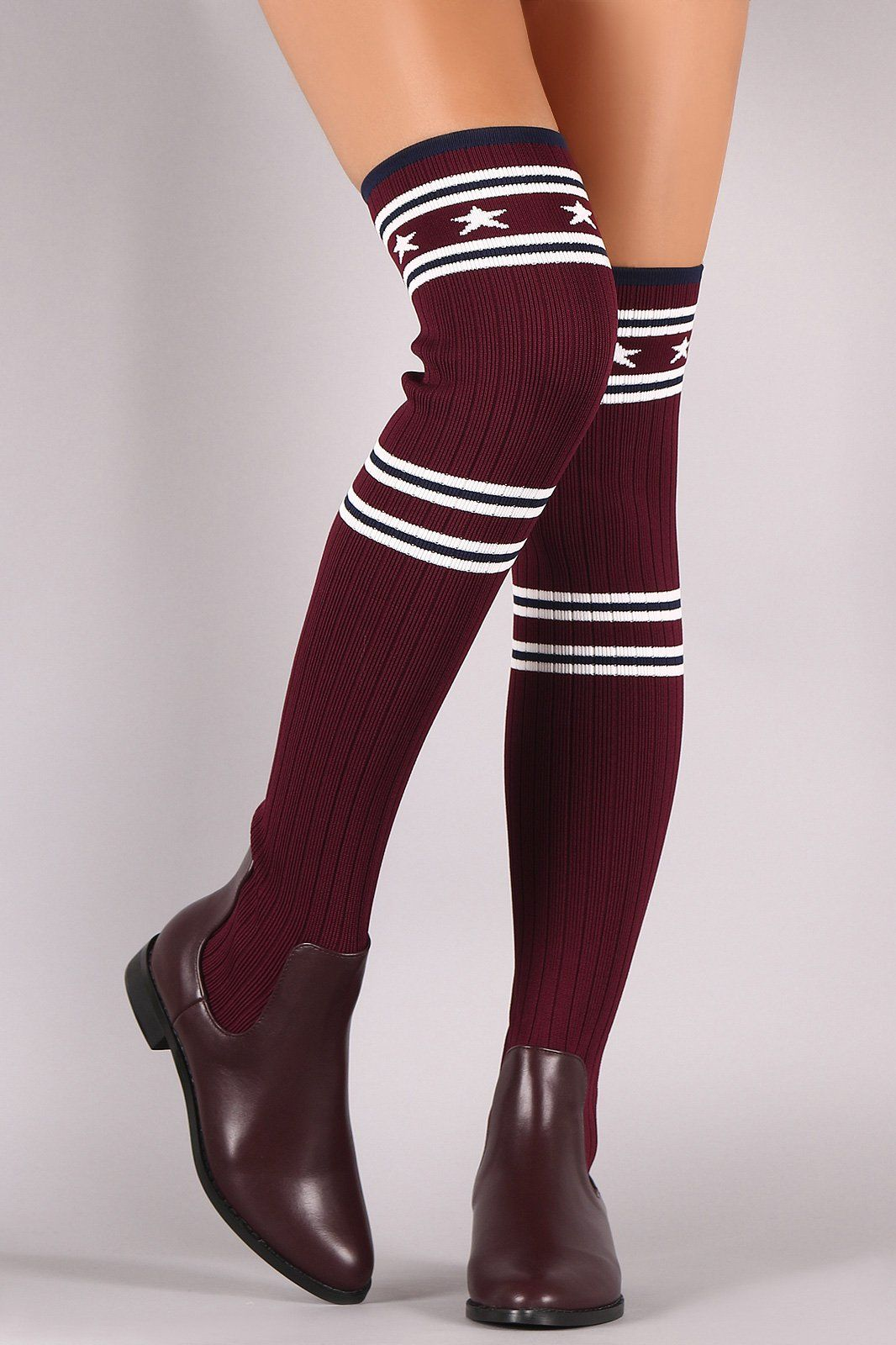 c2a3c83d358 Stars And Stripes Ribbed Knit Over-The-Knee Riding Boots